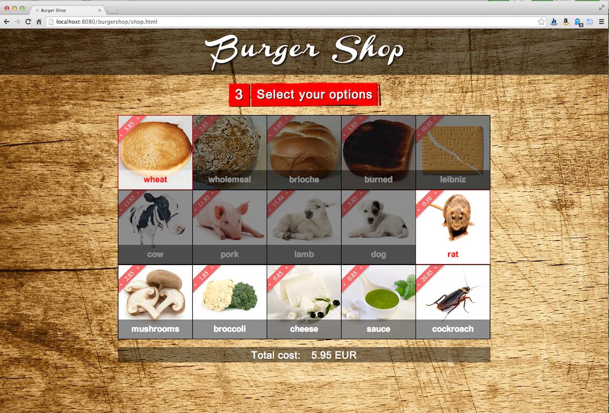 Burgershop selection